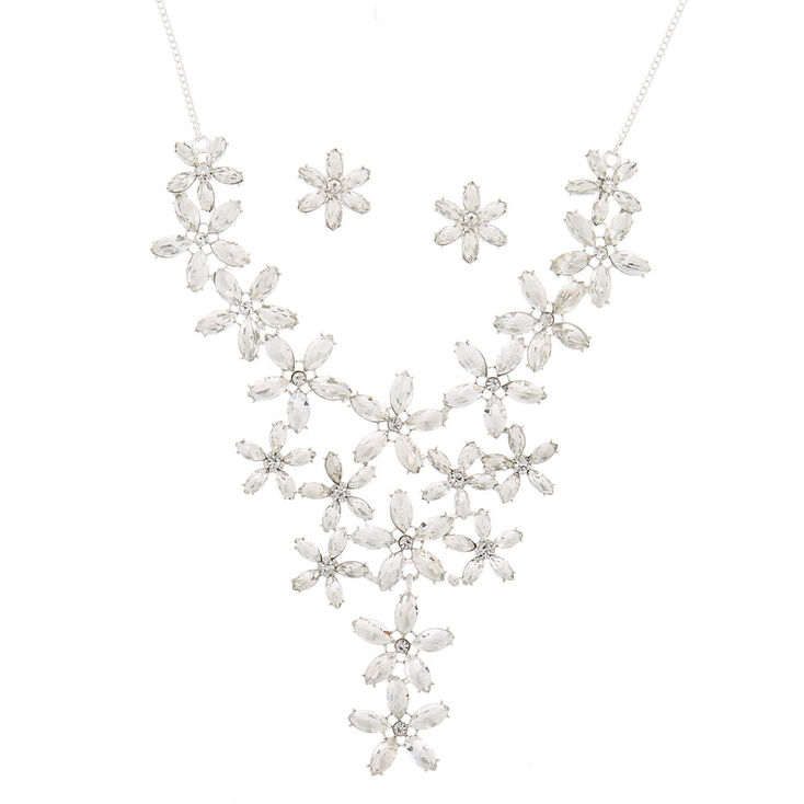 Silver Rhinestone Petal Jewelry Set - 2 Pack,