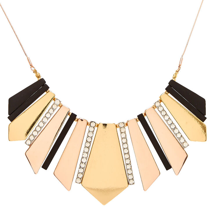 Geometric Gold Black & Pavé Crystal Statement Necklace,