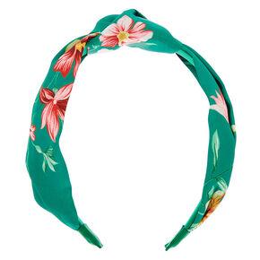 Floral Print Knot Headband - Green,