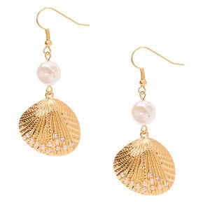 """Gold 2"""" Pearl Shell Drop Earrings,"""