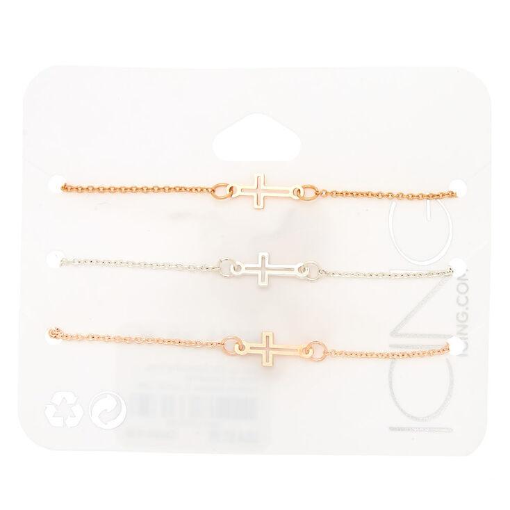 Mixed Metal Cross Chain Bracelets - 3 Pack,