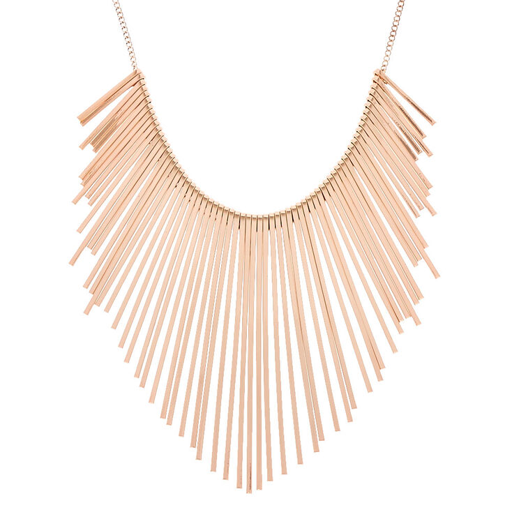Rose Gold Toned Bars Necklace,