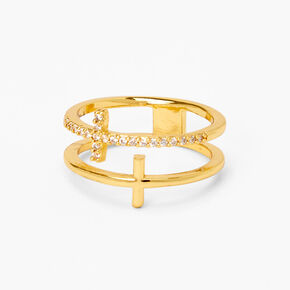 18kt Gold Plated Refined Double Cross Ring,