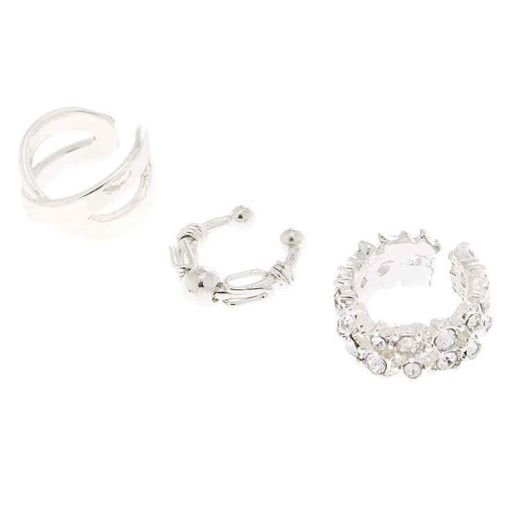 Silver Crystal Ball Ear Cuffs - 3 Pack,