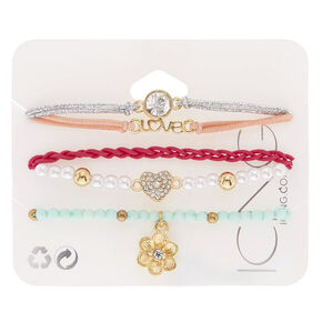 5 Pack Assorted Pastel Stretch Bracelets,