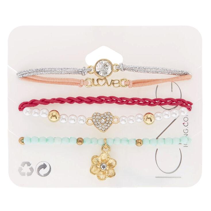 Pastel Love Stretch Bracelets - 5 Pack,