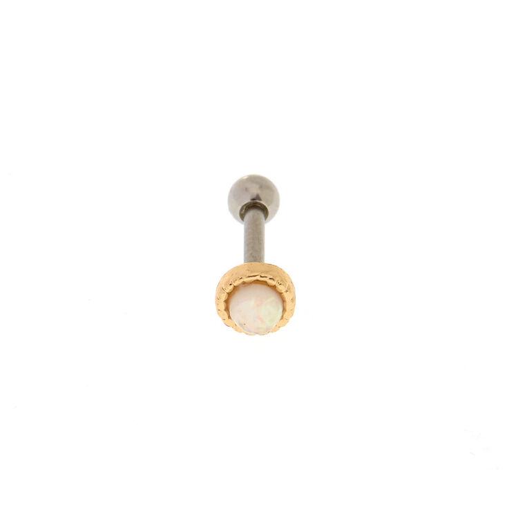 Opal Stone Gold Tragus Earring,