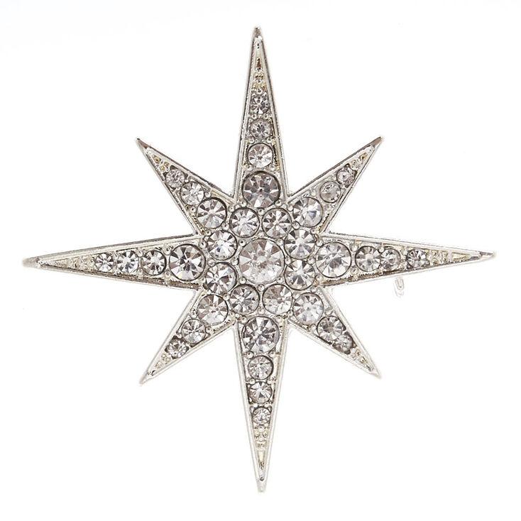 Silver Tone Starburst Brooch Pin,