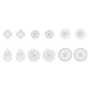 Silver Filigree Stud Earrings 6 Pack