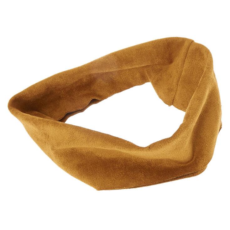 Tan Wide Suede Headwrap,