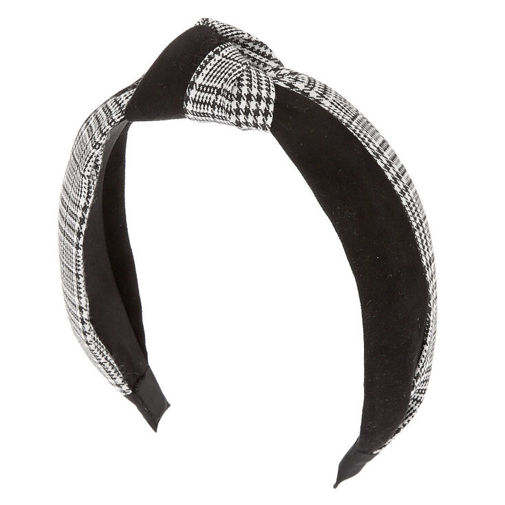 Suede Houndstooth Knotted Headband - Black,
