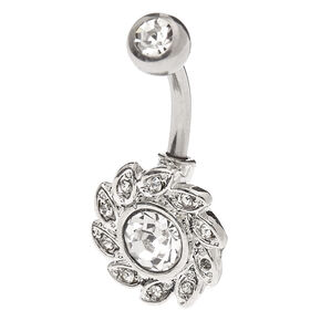 Silver 14G Crystal Wreath Belly Ring,
