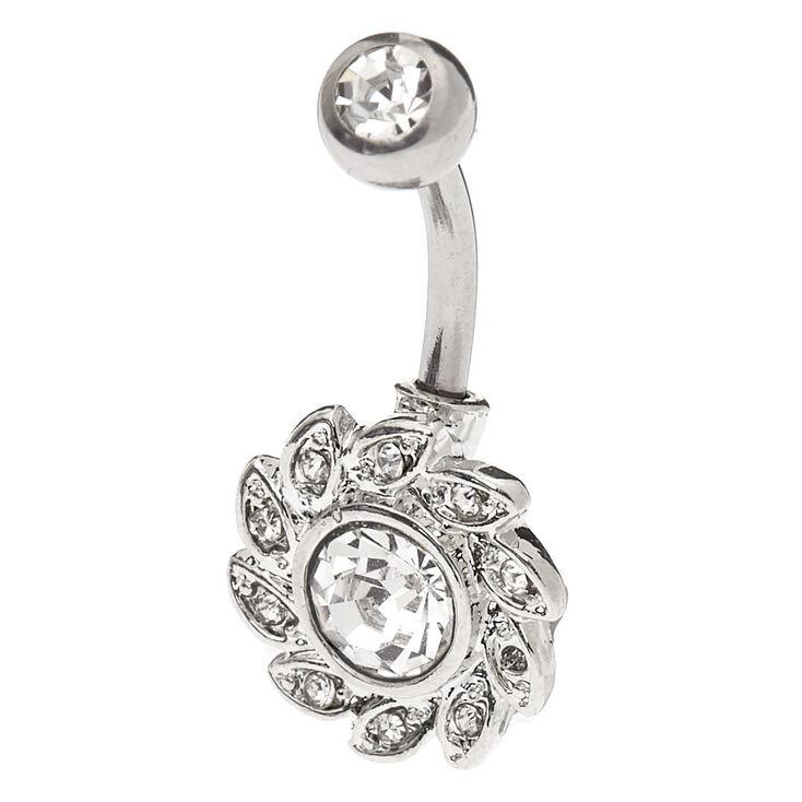 Silver 14G Crystal Wreath Belly Ring,
