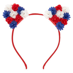 Floral Cat Ears Headband - Red,
