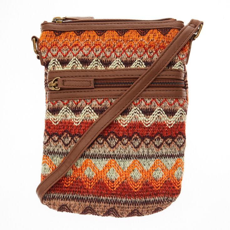 Tribal Embroidered Brown Cross Body Bag,