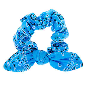 Bandana Knotted Bow Hair Scrunchie - Light Blue,