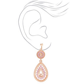 "Rose Gold 2"" Teardrop Clip On Drop Earrings - Pink,"
