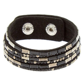 Studded Layered Statement Bracelet - Hematite,