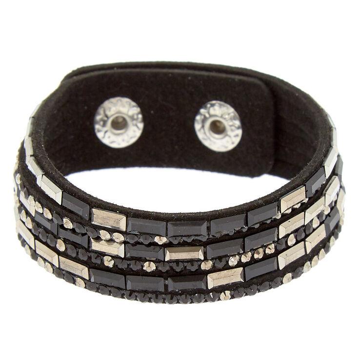 Studded Layered Wrap Bracelet - Hematite,