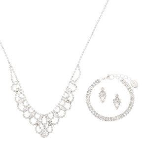 Silver Rhinestone Princess Jewelry Set - 3 Pack,