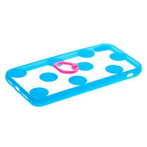 Blue Polka Dot Ring Holder Phone Case - Fits iPhone XR,