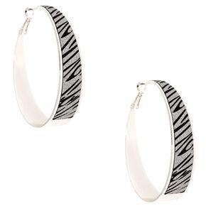 Silver 60MM Glitter Zebra Hoop Earrings,