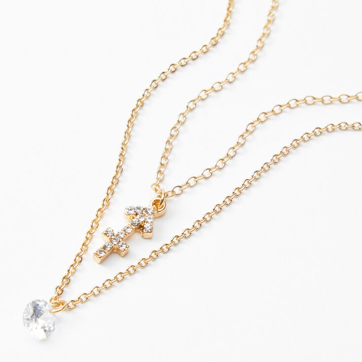Gold Cubic Zirconia Zodiac Multi Strand Necklace - Sagittarius,
