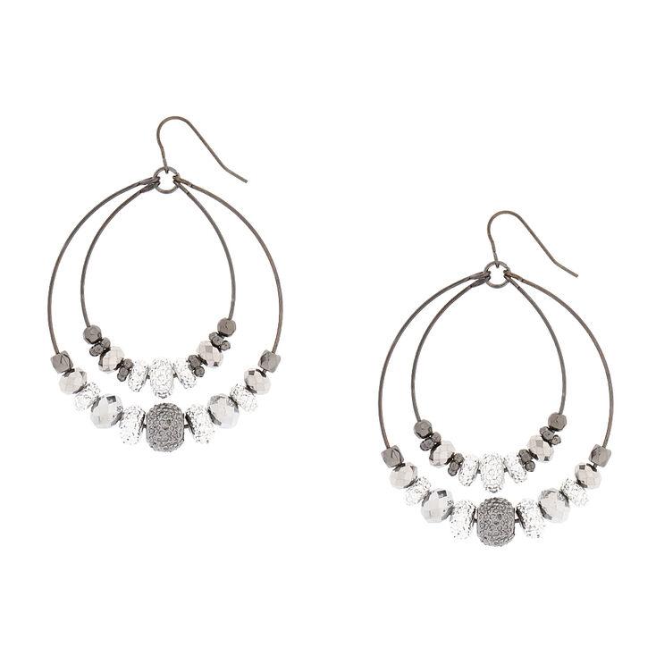 Silver Bead Hoop Drop Earrings,