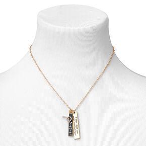 Gold Rectangular Zodiac Pendant Necklace - Taurus,