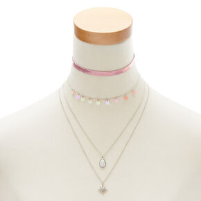 Metallic Pink Necklace Set,