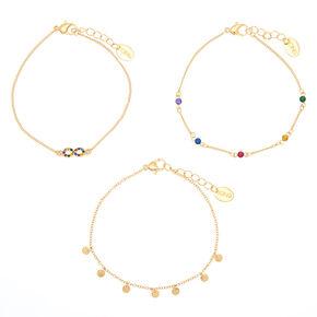 Rainbow Infinity & Gem Charm Bracelet - 3 Pack,