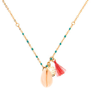Tropical Cowrie Shell Pendant Necklace,