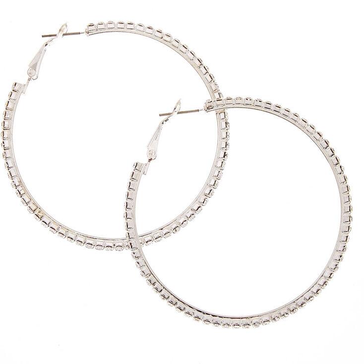 60MM Silver Tone Faux Crystal Lined Hoop Earrings,