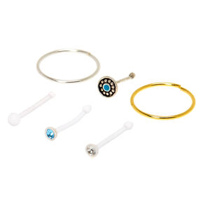 Sterling Silver Mixed Metal Boho Nose Studs & Hoops - 6 Pack,