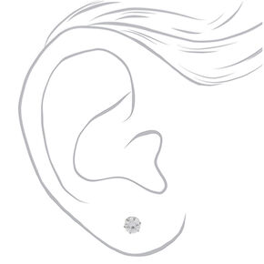 Silver Titanium Cubic Zirconia 6MM Round Stud Earrings,
