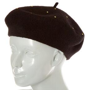 Black Studded Wool Beret,
