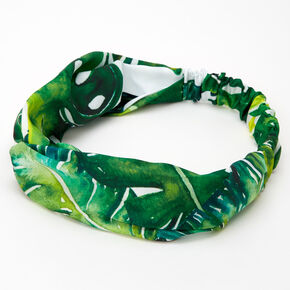 Palm Leaf Print Twisted Headwrap,