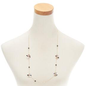 Rose Gold Sequin Flower Statement Necklace - Black,