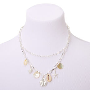 Silver Seashell Statement Necklace,