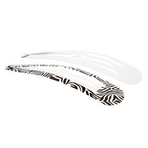 Zebra Print Jumbo Snap Hair Clips - White, 2 Pack,