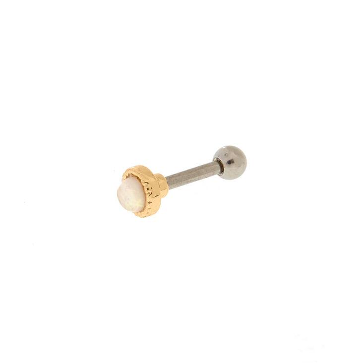 Opal Stone Gold Tone Tragus Earring,