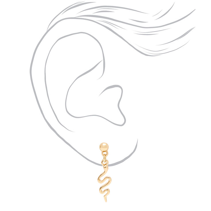 """Mixed Metal 0.5"""" Snake Drop Earrings - 3 Pack,"""