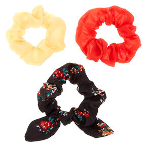Spring Floral Knotted Bow Hair Scrunchies - 3 Pack,