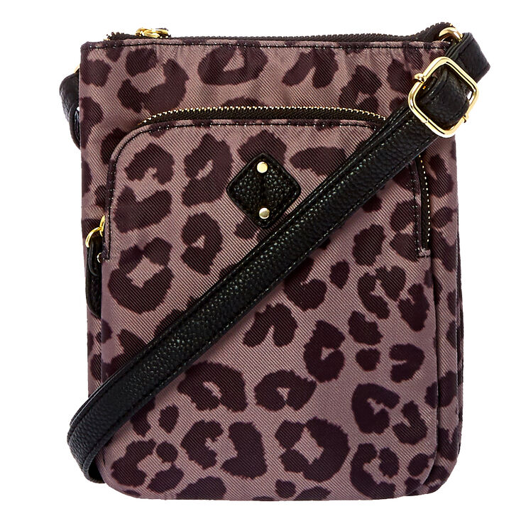 Black & Brown Leopard Print Crossbody Bag,
