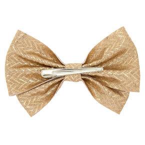 Glitter Chevron Hair Bow Clip - Gold,