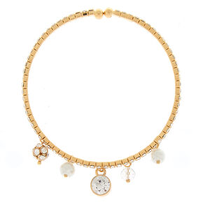 Glass Rhinestone Charm Cuff Bracelet - Gold,