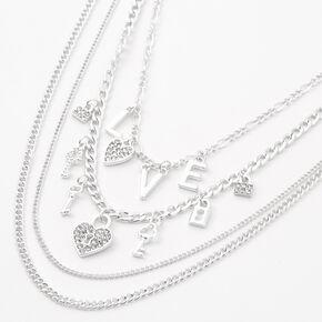 Silver Love Multi Strand Choker Necklace,