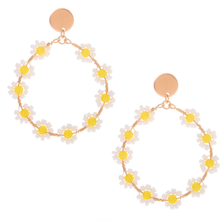 Vintage Style Jewelry, Retro Jewelry Icing Gold 2 Daisy Flower Hoop Earrings $14.99 AT vintagedancer.com