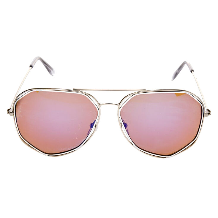 Geometric Aviator Sunglasses with Blue Lenses,