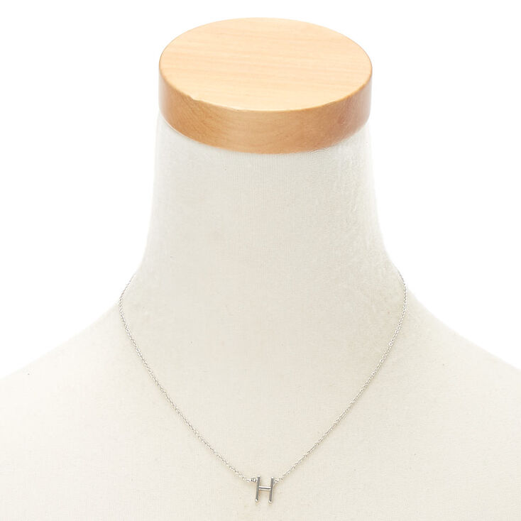 Silver Stone Initial Pendant Necklace - H,